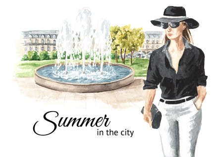 Young woman walks in the public park near the fountain, Watercolor hand drawn illustration isolated on white background