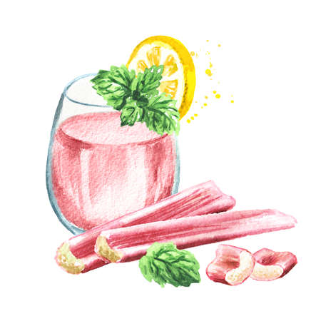 Homemade refresh cocktail drink with fresh rhubarb, lemon and mint. Watercolor hand drawn illustration isolated on white background Banque d'images