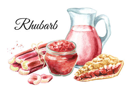 Homemade refresh rhubarb drink, jam, pie and fresh stalks. Watercolor hand drawn illustration isolated on white background Banque d'images