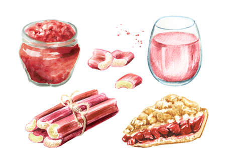 Homemade refresh rhubarb drink, jam, pie and fresh stalks set. Watercolor hand drawn illustration isolated on white background Banque d'images