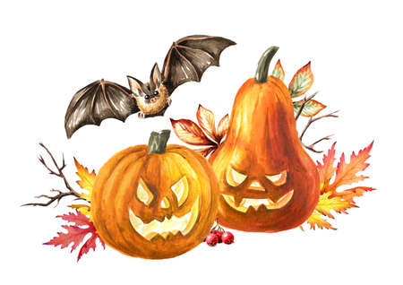 Halloween pumpkins with autumn leaves and the bat. Hand drawn watercolor illustration, isolated on white background Imagens