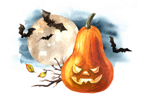 Halloween pumpkin against the full moon, head jack lanterns, Holiday concept. Hand drawn watercolor illustration isolated on white background