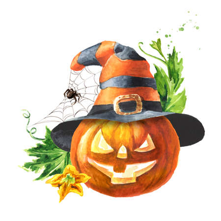 Halloween pumpkin in the hat, head jack lantern, with spider web. Hand drawn watercolor illustration, isolated on white background