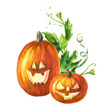 Halloween pumpkins, head jack lantern. Hand drawn watercolor illustration, isolated on white background Imagens