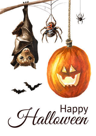 Happy Halloween card. Hand drawn watercolor illustration, isolated on white background