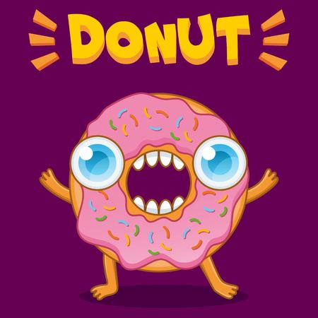 Funny donut character. Cartoon illustration Stock Photo