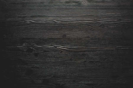 Total black wooden textured background, horizontal banner. Stock Photo