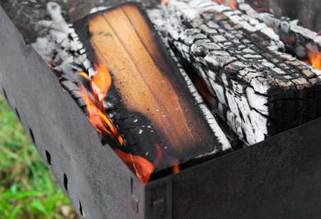 Barbecue  fire with burning wood  logs for meat preparation in nature close - up