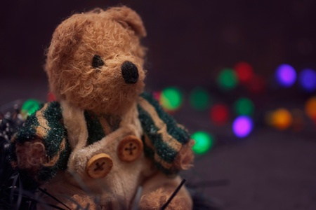 Christmas arrangement with a cozy vintage teddy bear photo