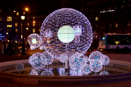 Christmas decoration in Paris, balls from electric bulbs, January 2012 Editorial