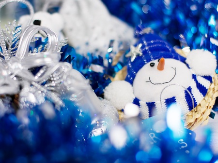frippery: Christmas decoration with different decorative elements in blue colors