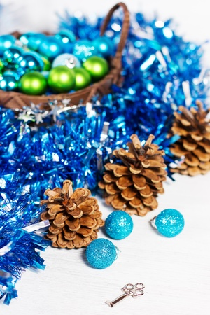 frippery: Christmas decoration with different balls and tinsel on white background Stock Photo