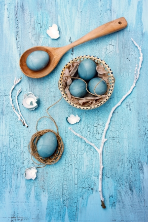 food stuff: Still life with blue easter eggs  Unusual version  Eggs painted with hibiscus