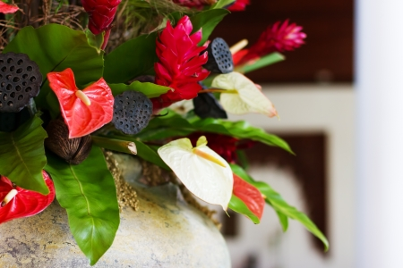 lotus seeds: Flower decor with anthurium and lotus seeds. Luxury and elegant arrangement. Selective focus. Stock Photo