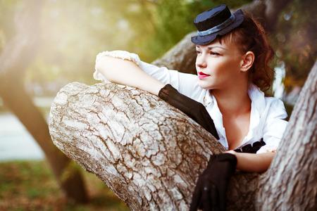 Vintage portrait of beautiful woman. Summer, nature. photo