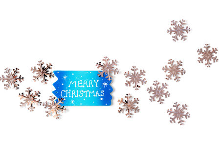 Merry christmas decoration with metallic glowing snowflakes over white background. Xmas greeting card. photo