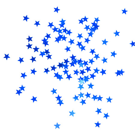 stelle blu: Christmas background with blue stars isolated on white. Holiday accessories.