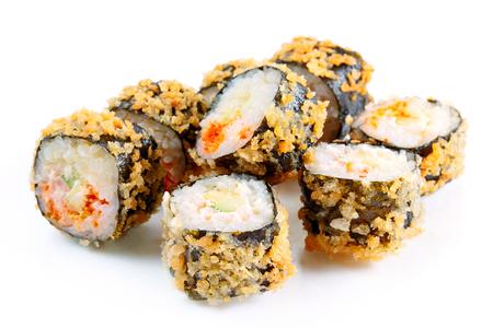 over white: Tempura roll with salmon and avocado, over white, eight pieces Stock Photo