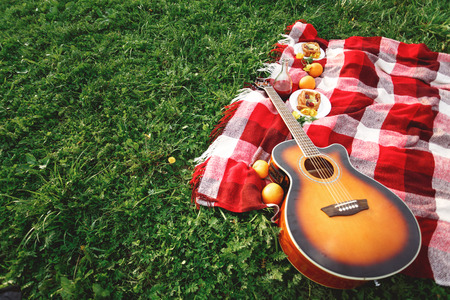 red grass: Picnic with Guitar Music on Grass. Summer Vacations. Selective Focus. Space for Your Text. Stock Photo