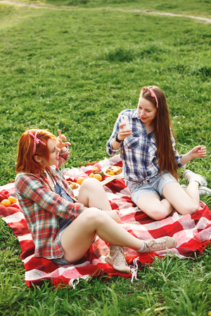 Two Young Happy Girls Taking Photos Each Other on Mobile Phone . Summer Evening Picnic. Pin Up Style. Selective Focus.