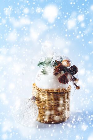fir branch: Magical Christmas Decoration with White Balls, Fir Branch and Drawn Snow for Festive Mood. Space for Greetings. Stock Photo