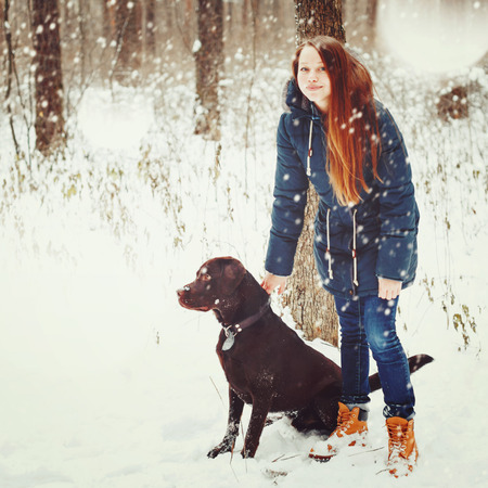 winter park: Young Beautiful Female Walking with Labrador Dog in Snowy Winter Forest. Woman Looking at Camera and Holding Dog.