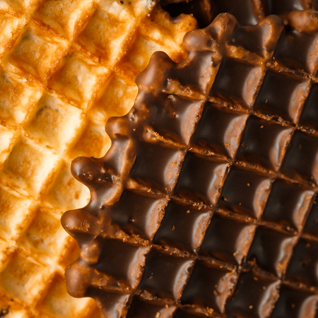 foodies: Round Belgian Waffles with Chocolate Icing Extreme Close-up