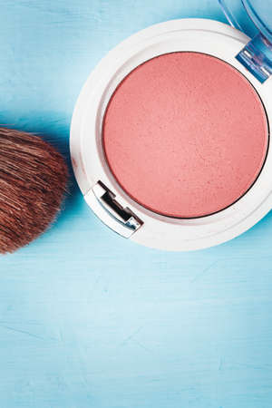 Close-up of Blush with Brush, Cosmetics Accessories, Top view