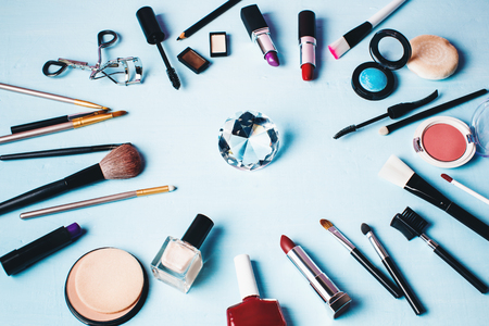 make up products: Various Make up Products. Cosmetics Background with Copy Space. Stock Photo