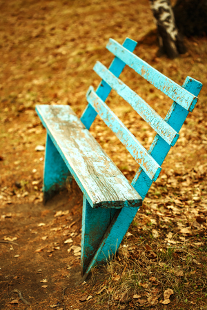 Autumn sadness concept. Empty blue bench among fall yellow leaves.