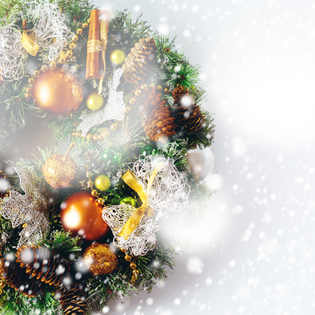 christmas decorations with white background: Christmas wreath composition on white. Christmas decorations background.