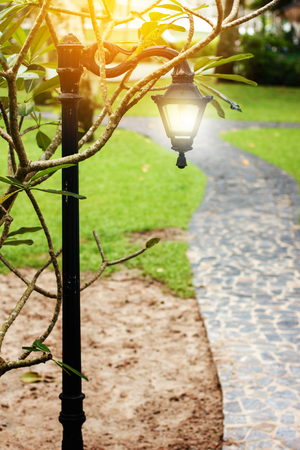green park: Beautiful lantern on the road, selective focus Stock Photo