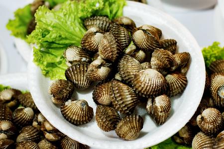 Street market outdoors. Seashells portions on plastic plates. Stock Photo