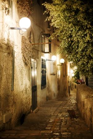 yaffo: Old town Jaffa street in the evening. Israel, Tel-Aviv Yaffo.