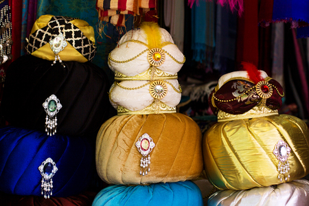 Authentic turban souvenirs in turkish traditional bazaar in old town