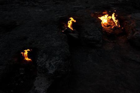 Chimera fires near Cirali Olympos beach, famous place in Turkey Standard-Bild
