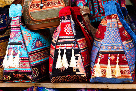Traditional turkish market (bazaar) with colorful handmade bags