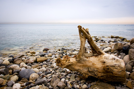 Sea view, tranquil nature background with pebbles Standard-Bild