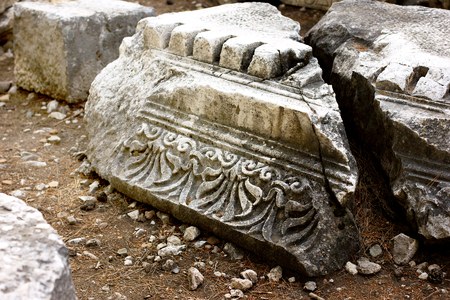 Close-up shot of an old ancient ruins of Phaselis, Turkey Standard-Bild