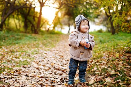 Cute little toddler standing in the fall leaves holding a toy and smiling, full height and copy space.