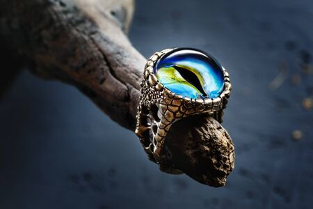 Creative ring with dragon eye on nature background, lampwork jewelry, close-up view Imagens