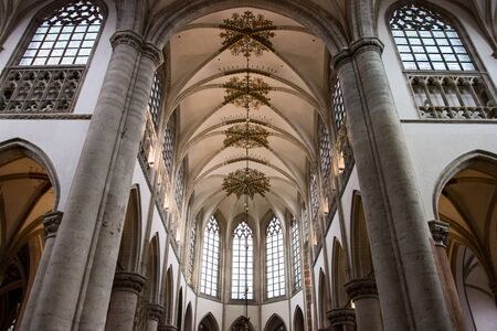 Interior of main church in Breda, Netherlands, gothic cathedral