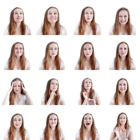 Collage image of sixteen different human emotions and reactions, young attractive caucasian woman headshots isolated on white background Stock Photo