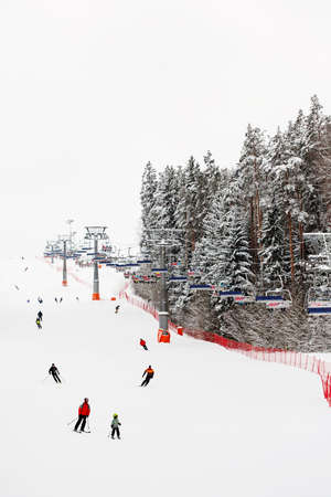 Ski slope with skiers in winter forest, extreme winter sports Standard-Bild