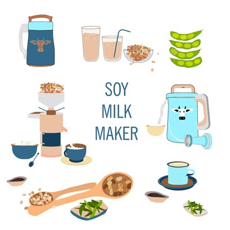 Soy milk maker or soy cow hand drawn doodle cartoon set. Organic drink, vegan milk, soybeans, vegan products and different types grain blending machine. Every objects are isolated. Poster for cafe menu