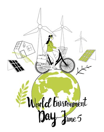 World environment day 5 june vector illustration.Girl travell on a bicycle around green Earth.Safe our planet, recycling,nature protection greeting card or design poster,solar and wind energy in city.
