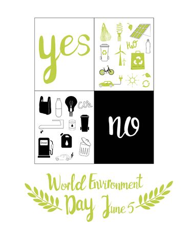 Yes and no ecology banner. World environment day 5 june illustration. Vector icon set.Safe our planet, recycling, nature protection greeting card or design poster,no using fuel and plastic bags.