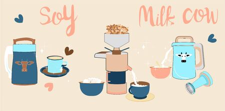 Soy milk maker or soy cow hand drawn doodle cartoon set. Organic drink, vegan milk, soybeans, tofu and different types device device grain blending machine. Every objects are isolated. Poster for cafe menu