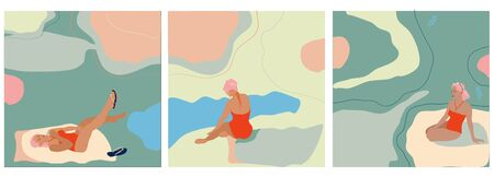 Young woman sitting and lying on the tropical beach shore in red swimsuit and drink coctail.Set of three hand drawn vector isolated trendy illustrations with abstract backgrounds.Pastel colors, minimalistic naive style