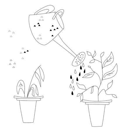 Plant in a pot before and after watering and care. Doodle vector illustration with watering can.A wilted plant in a pot and another came to life because of the fertilizer. Poster for flower shop.